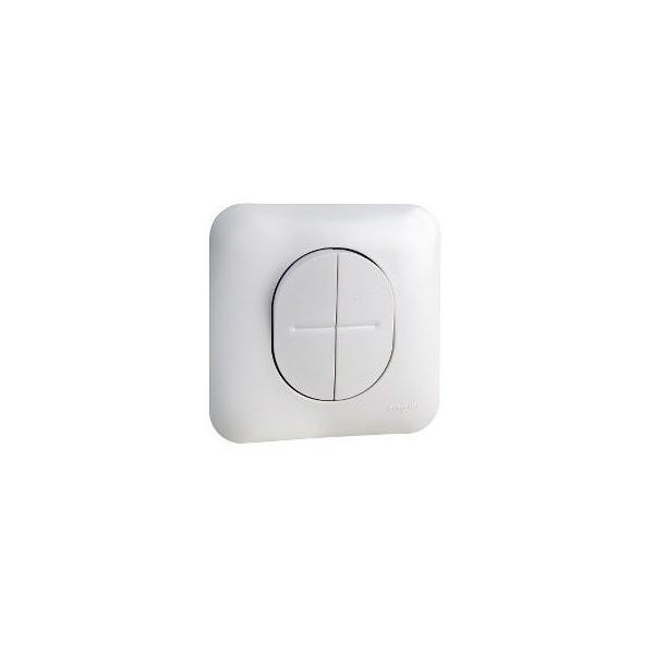 Double interrupteur va et vient blanc satin Schneider Ovalis Réf : S261214
