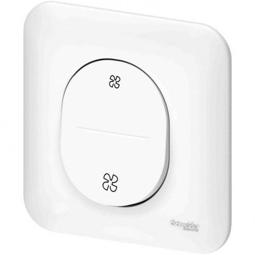 Interrupteur VMC Schneider Ovalis blanc Réf : S261233