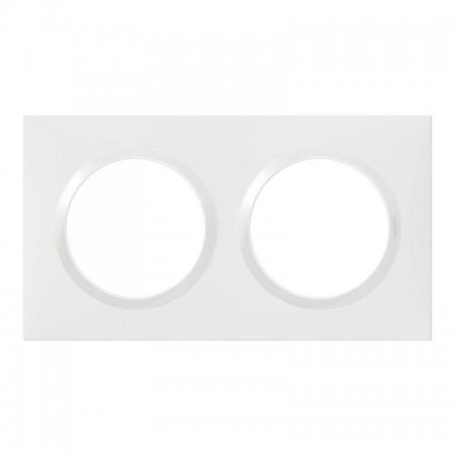 Plaque de finition carrée 2 postes Blanc Dooxie Réf: 600802