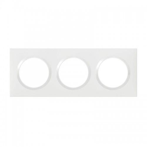 Plaque de finition carrée 3 postes Blanc Dooxie Réf: 600803