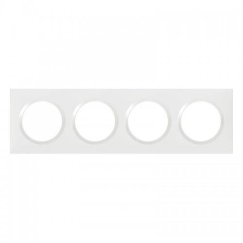 Plaque de finition 4 postes Blanc Dooxie Réf: 600804