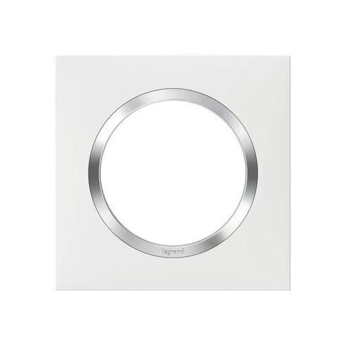 Plaque de finition carrée 1 poste blanc avec bague effet Chrome Dooxie Réf: 600841