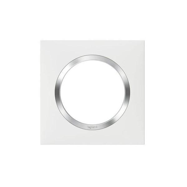 Plaque de finition carrée 1 poste blanc avec bague effet Chrome Dooxie Réf. 600841
