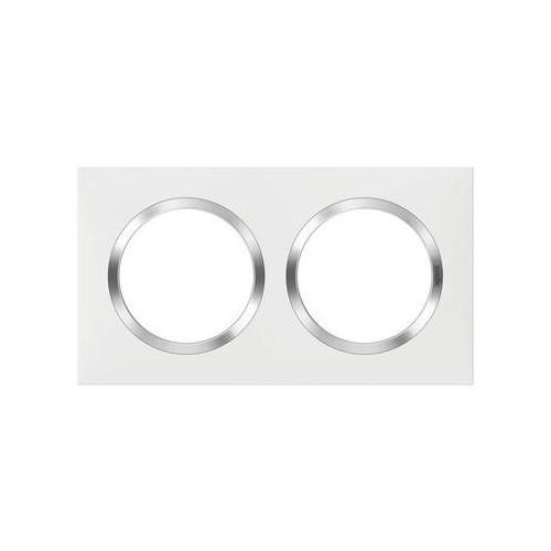 Plaque de finition carrée 2 postes blanc avec bague effet Chrome Dooxie Réf: 600842