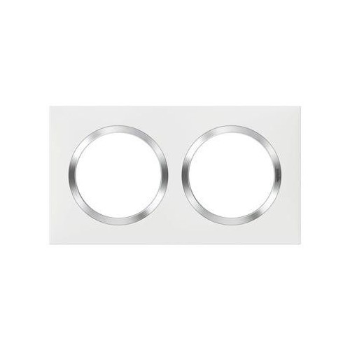 Plaque de finition double 2 postes Dooxie chrome Réf: 600842