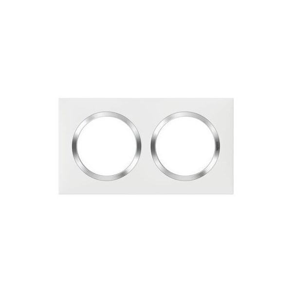 Plaque de finition 2 postes Blanc avec bague effet Chrome Dooxie Réf: 665002