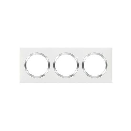 Plaque de finition carrée 3 postes blanc avec bague effet Chrome Dooxie Legrand Réf. 600843