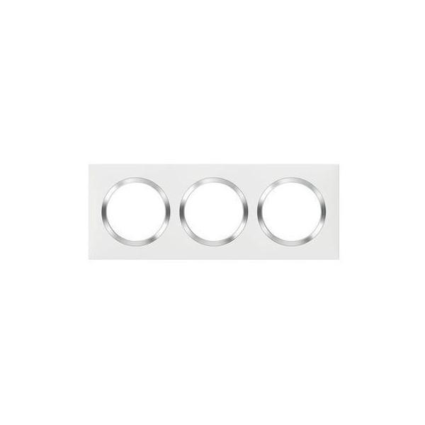 Plaque de finition triple 3 postes Blanc avec bague effet Chrome Réf: 600843