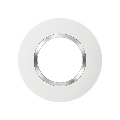 Plaque de finition ronde 1 poste finition blanc avec bague effet chrome Dooxie Réf: 600973