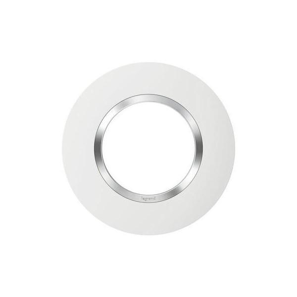 Plaque de finition 1 poste Ronde Blanc avec bague effet Chrome Réf: 600973