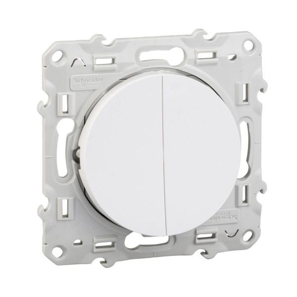 Va et vient + bouton poussoir blanc Schneider Odace Réf : S520285