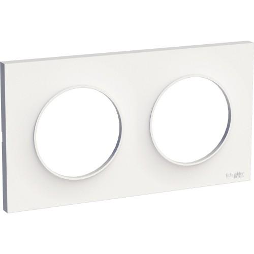 Plaque de finition double blanc Schneider Odace Styl Réf: S520704
