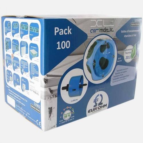 Pack de 100 Boîtes d'encastrement 1 poste étanches à l'air XL Air'métic + Scie cloche Eur'Ohm diam. 67mm prof. 40mm Réf: 52062