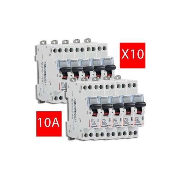 Lot de 10 disjoncteurs unipolaire+neutre DNX3 10A Vis//Vis Legrand 406773