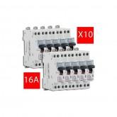 Lot de 10 Disjoncteurs Phase + Neutre DNX3 4500 6kA arrivée et sortie borne à vis - 1P+N 230V 16A Courbe C Legrand Réf: 406774