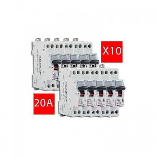 Lot de 10 Disjoncteurs Phase + Neutre DNX3 4500 6 kA arrivée et sortie borne à vis - 1P+N 230V 20A courbe C Legrand Réf: 406775