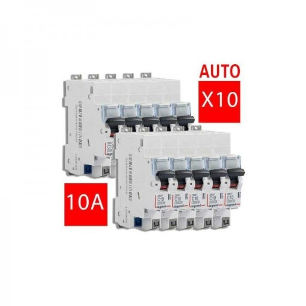 Lot de 10 x Disjoncteur automatique 10A Legrand Réf: 406782