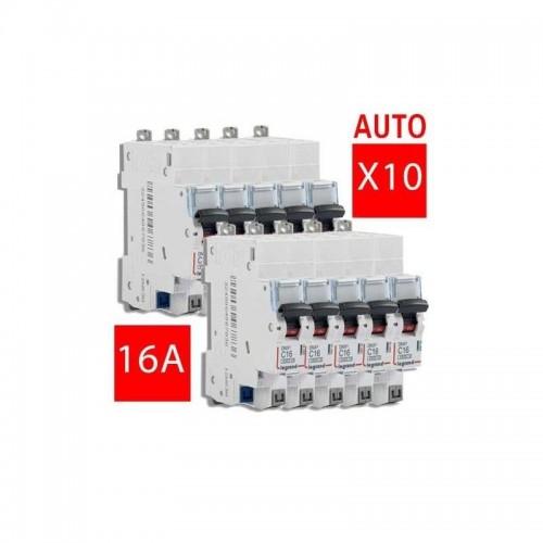 Lot de 10 Disjoncteurs 16A borne auto Legrand Réf. 406783