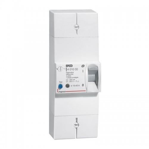 Disjoncteur de branchement Enedis - bipolaire 15/45A  - tarif bleu - 500 mA instantané Legrand Réf: 401000