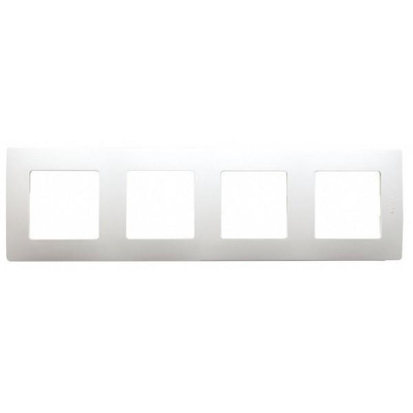 Plaque de finition quadruple 4 postes Niloé Legrand Blanc Réf: 665004