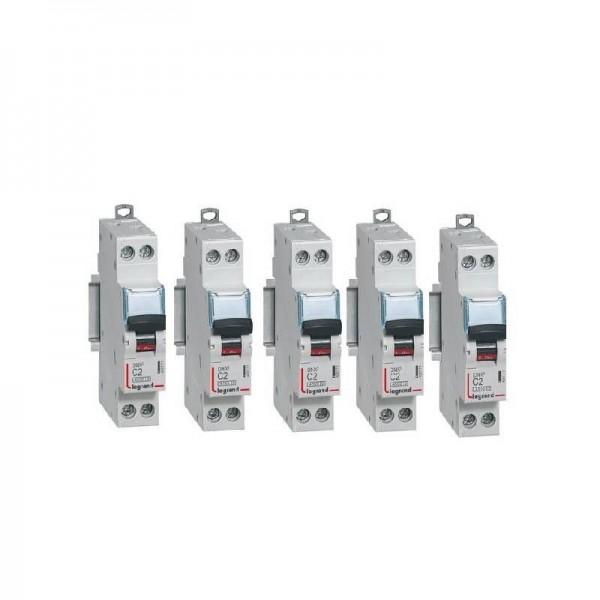 Lot de 5 Disjoncteurs P+N vis/vis 2A Courbe C Legrand Réf: 406771