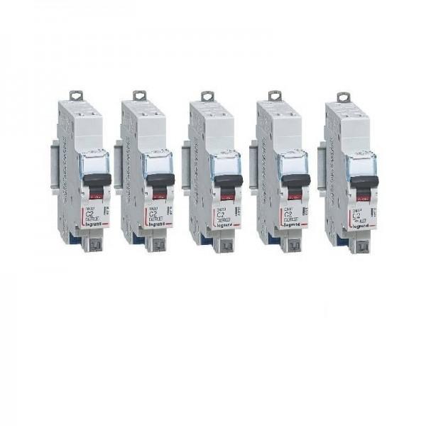 Lot de 5 Disjoncteurs P+N borne auto 2A Courbe C Legrand Réf: 406780