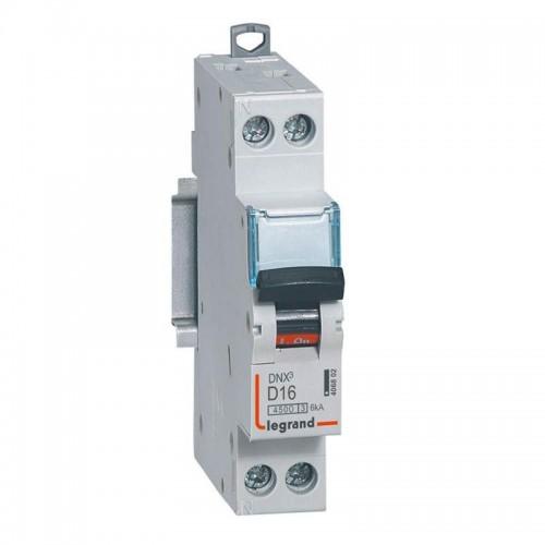 Disjoncteur Phase+Neutre DNX3 4500 6kA arrivée et sortie borne à vis - 1P+N 230V 16A courbe D Legrand Réf: 406802