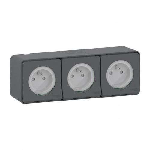 Triple prise 2P+T étanche grise horizontale Schneider Réf: Mur36037