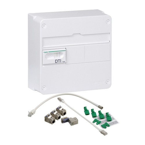 Coffret de communication LexCom Home 4RJ45 Cat6 + 2 TV Resi9 Schneider Réf: VDIR390006