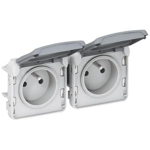 Prise de courant étanche 2 x 2P+T horizontale Plexo composable gris Legrand Réf: 069562