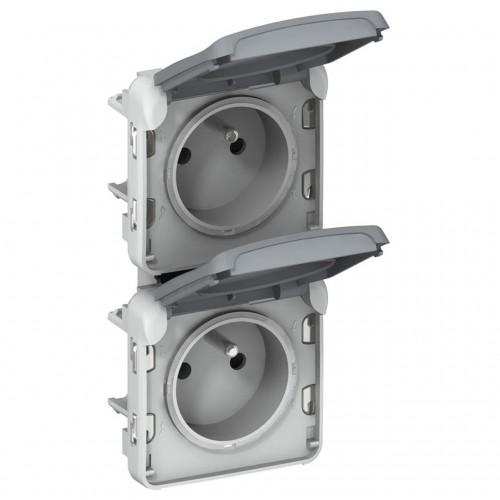 Prise de Courant étanche 2 x 2P+T verticale Plexo composable gris Legrand Réf: 069563