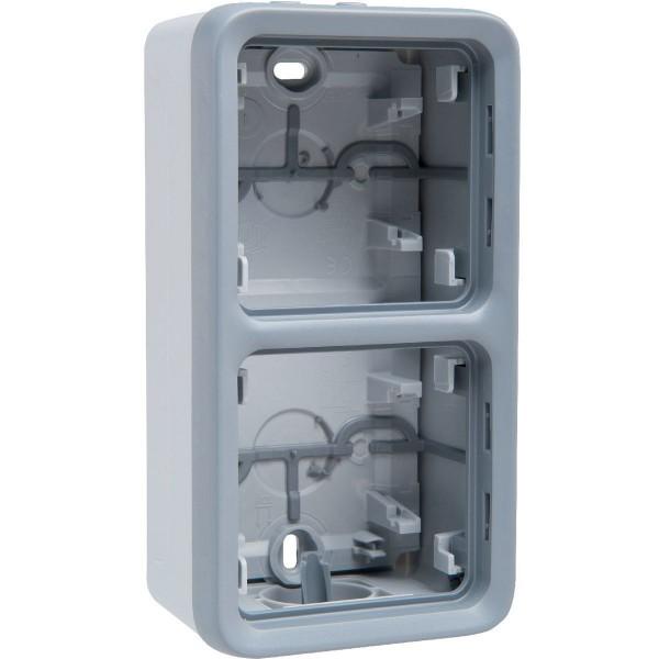 Boîtier à embouts double vertical étanche Plexo gris Legrand Réf: 069661