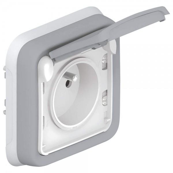 Prise étanche 2P+T 16A Plexo complet avec éclips de protection encastré gris Legrand Réf. 069831