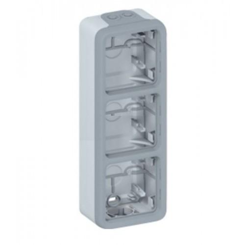 Boîtier triple à embouts vertical étanche Plexo composable gris Legrand Réf: 069679