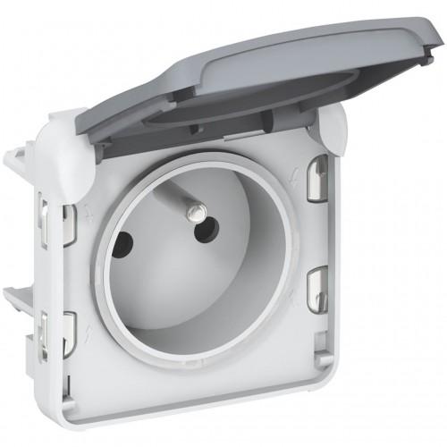 Prise de courant étanche 2P+T avec éclips de protection Plexo composable gris Legrand Réf: 069551