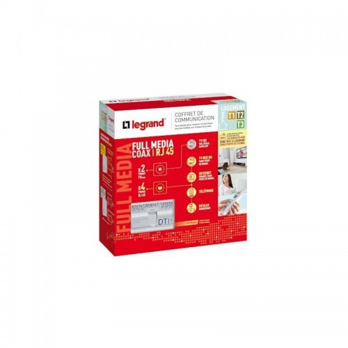 Coffret de communication 4RJ45 full média Legrand Réf: 093078