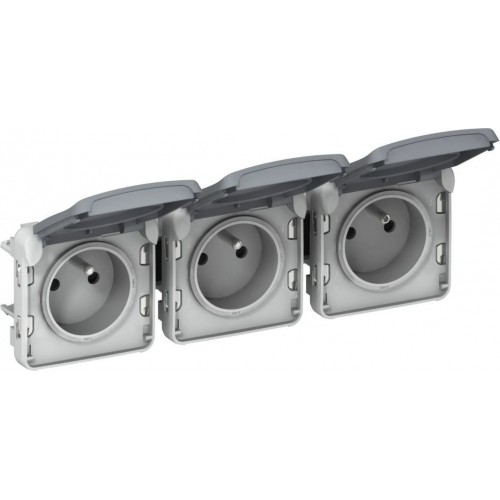 Triple prise 3x2P+T gris horizontale précablée composable Legrand Plexo Réf: 069564