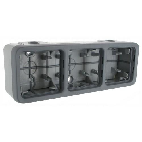 Boitier 3 postes horizontal à embouts composable Legrand Plexo Réf: 069680