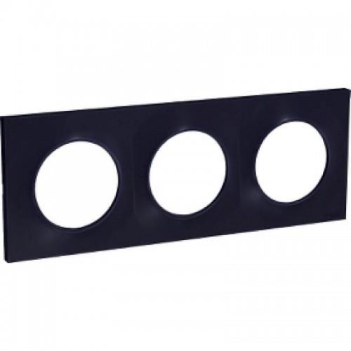 Plaque Odace Styl anthracite 3 postes Schneider Réf: S540706