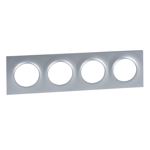 Plaque Odace Styl aluminium 4 postes Schneider Réf: S520708E