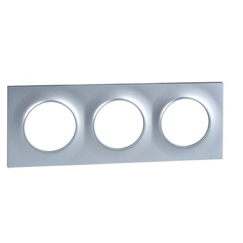 Plaque Odace Styl aluminium 3 postes Schneider Réf: S520706E