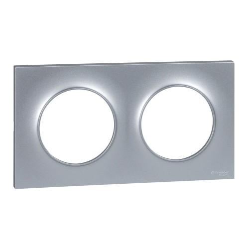 Plaque Odace Styl aluminium 2 postes Schneider Réf: S520704E