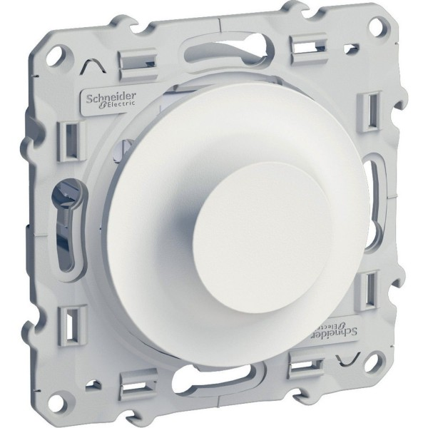 Interrupteur variateur rotatif 40-600 Watts 2 fils blanc Schneider Odace Réf: S520511
