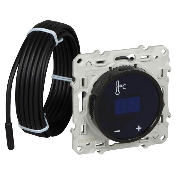Thermostat à écran tactile noir fil pilote Schneider Odace Réf: S520509