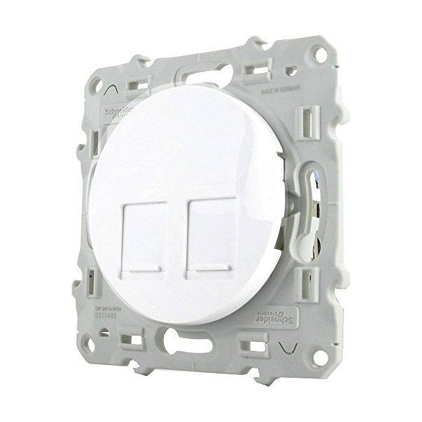 Prise double RJ45 blanc grade 2/3 multimédia Cat.6 STP Schneider Odace Réf: S520486