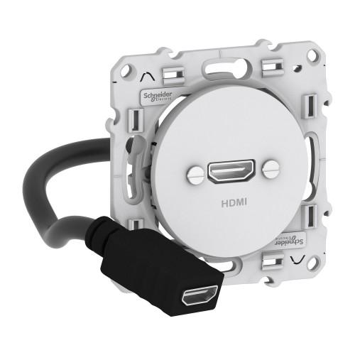 Prise HDMI type A blanc Schneider Odace Réf: S520462