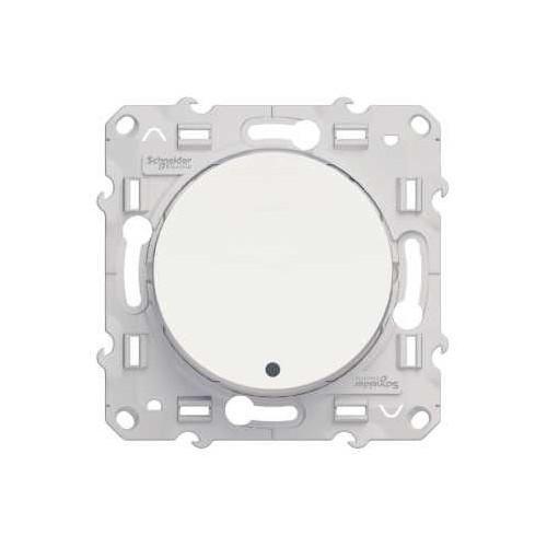 Bouton poussoir lumineux blanc LED bleu 10A Schneider Odace Réf: S520276