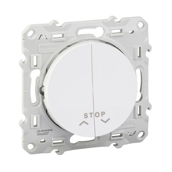 Bouton poussoir volet roulant 2 boutons + fonction stop blanc Schneider Odace Réf: S520227