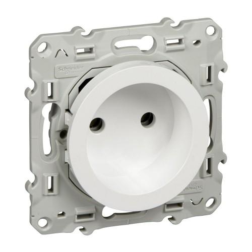 Prise de courant 2P blanc à vis rénovation Schneider Odace Réf: S520033
